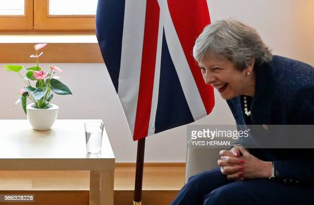 British Prime Minister Theresa May hold a bilateral meeting with Irish Prime Minister during an European Union leaders' summit focused on migration...
