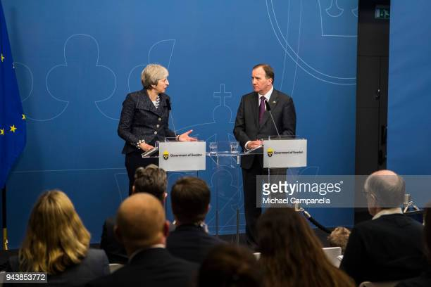 British Prime Minister Theresa May holds a joint press conference with the Swedish Prime Minister Stefan Lofven at the Rosenbad government office on...