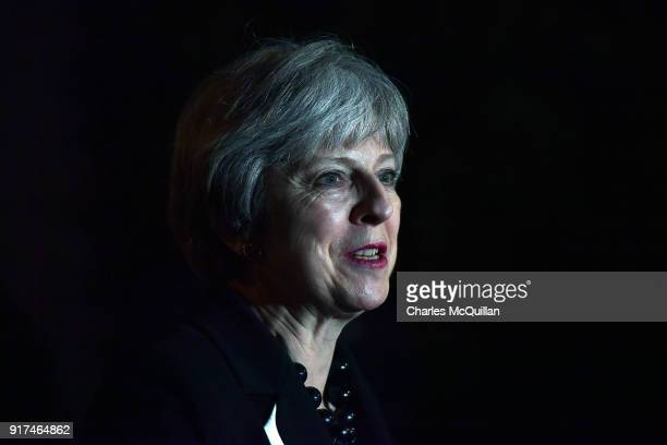 British Prime Minister Theresa May holds a press conference at Stormont House on February 12 2018 in Belfast Northern Ireland Prime Minister May was...