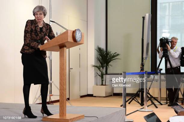 British Prime Minister Theresa May holds a press conference at the European Council during the two day EU summit on December 14 2018 in Brussels...