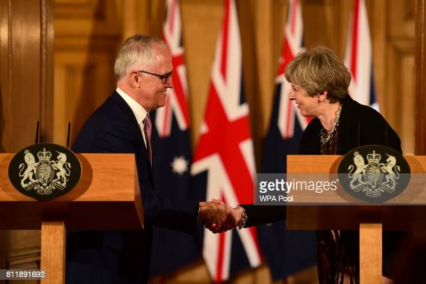 British Prime Minister Theresa May holds a press conference with Australia's Prime Minister Malcolm Turnbull at Downing Street on July 10 2017 in...