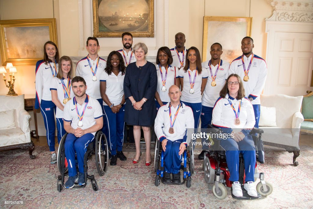 British Prime Minister Theresa May holds a reception for who competed in the World Athletics Championships and World Para Athletics at 10 Downing Street on August 22, 2017 in London, England.