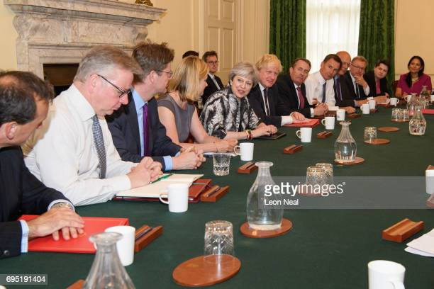 British Prime Minister Theresa May holds the first Cabinet meeting of her new team at 10 Downing Street on June 12 2017 in London England The Cabinet...