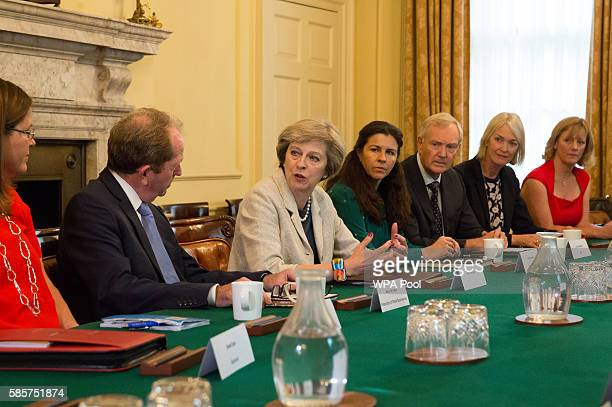 British Prime Minister Theresa May hosts a round table for small business representatives at 10 Downing Street on August 4 2016 in London England