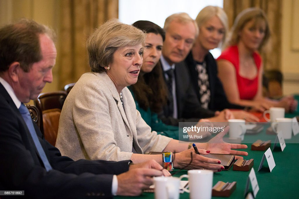 Theresa May Hosts A Round Table For Small Businesses : News Photo