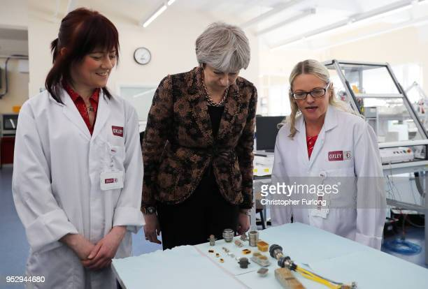 British Prime Minister Theresa May is given a tour of the Oxley Group as she campaigns in the North West as part of the Conservative Party's Local...
