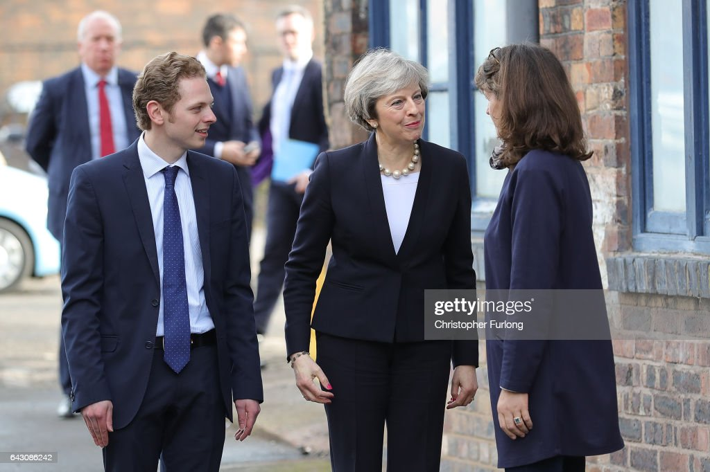 Theresa May Visits Stoke-On-Trent Central Ahead Of Thursday's By-election : News Photo