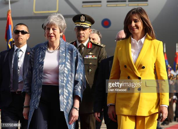British Prime Minister Theresa May is greeted by Nabila Makram Minister of Immigration and Egyptian Expatriates' Affairs for the first ArabEuropean...