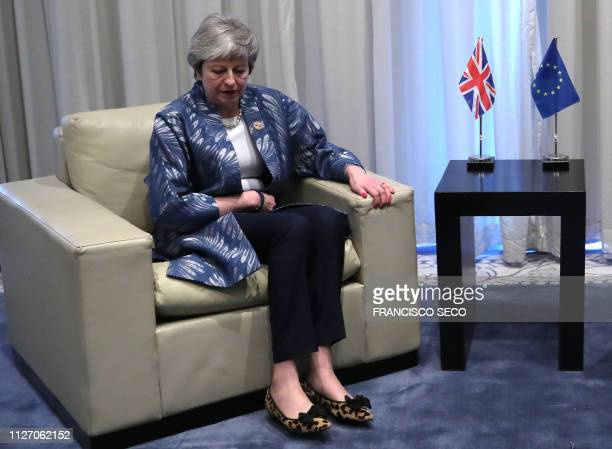 British Prime Minister Theresa May is pictured during a bilateral meeting with the President of the European Council on February 24 on the sidelines...