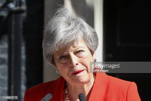 British Prime Minister Theresa May is seen breaking into tears as she made a statement in Downing Street after meeting Graham Brady the chair of 1922...