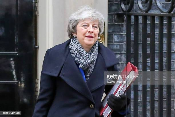 British Prime Minister Theresa May is seen leaving Number 10 Downing Street to attend the weekly Prime Minister's Questions in the House of Commons....