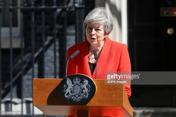 British Prime Minister Theresa May is seen making a statement in Downing Street after meeting Graham Brady the chair of 1922 committee Theresa May...