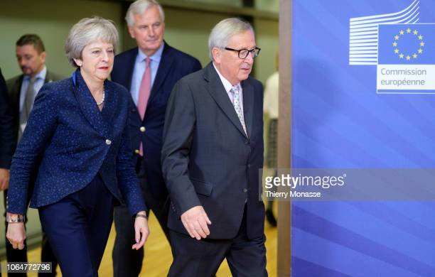 British Prime Minister Theresa May is welcomed by the President of the European Commission Jean-Claude Juncker in the Berlaymont, the EU Commission...