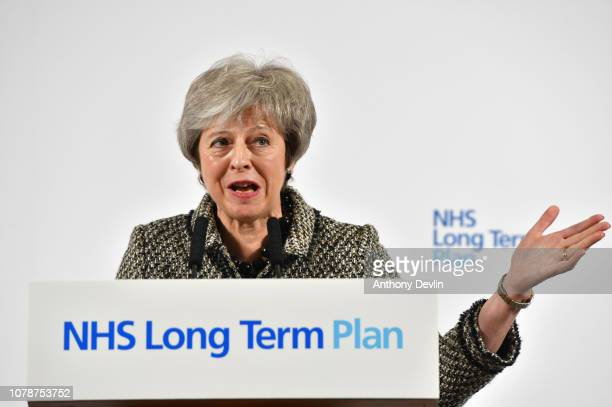 British Prime Minister Theresa May launches The Government's Long Term Plan for The NHS at Alder Hey Hospital on January 7, 2019 in Liverpool,...