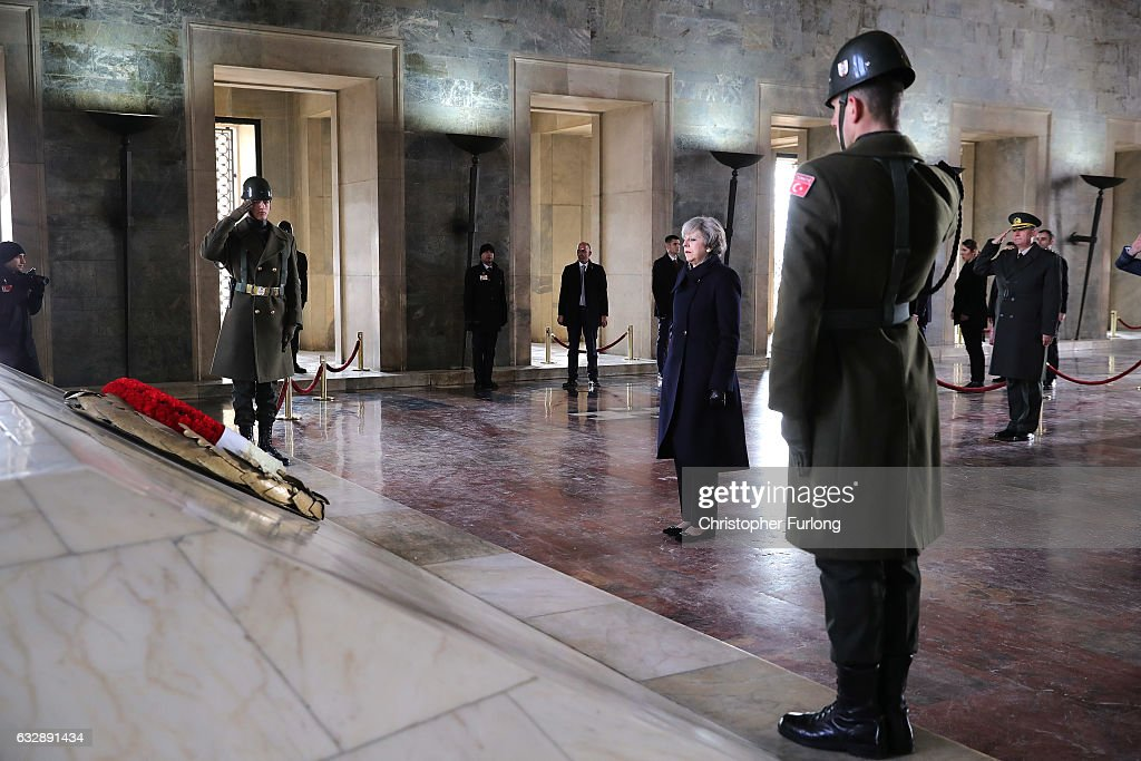 British Prime Minister Theresa May lays a wreath at the tomb of Mustafa Kemal Ataturk, the founder of the republic of Turkey on January 28, 2017 in Ankara, Turkey. Prime Minister Theresa May is in Turkey to start post-Brexit trade talks with President Erdogan. Turkey joins 13 other countries in trade talks with the UK.