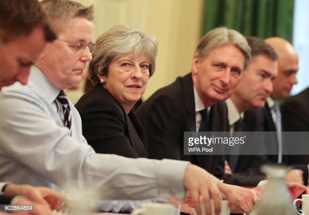 British Prime Minister Theresa May leads her first cabinet meeting of the new year following a reshuffle at 10 Downing Street on January 9 2018 in...