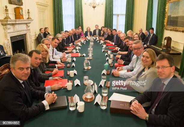 British Prime Minister Theresa May leads her first cabinet meeting of the new year following a reshuffle at 10 Downing Street on January 9, 2018. In...