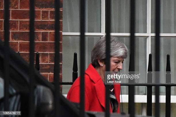 British Prime Minister Theresa May leaves 10 Downing Street following a cabinet meeting on November 26 2018 in London England Yesterday Ms May spoke...