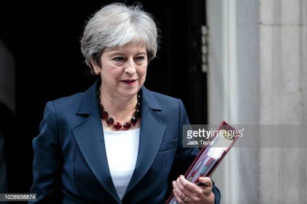 British Prime Minister Theresa May leaves 10 Downing Street for Prime Minister's Questions at the Houses of Parliament on September 5 2018 in London...