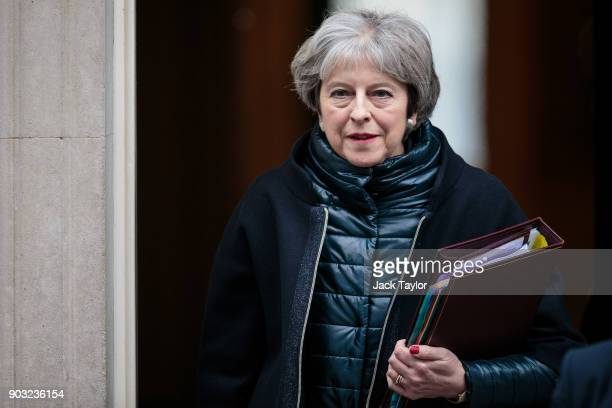 British Prime Minister Theresa May leaves 10 Downing Street for Prime Minister's Questions on January 10 2018 in London England Mrs May will hold her...