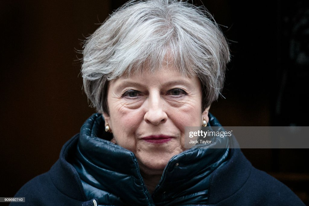 British Prime Minister Theresa May leaves 10 Downing Street for Prime Minister's Questions on January 24, 2018 in London, England. Mrs May will travel to Davos, Switzerland for the World Economic Forum, where she is to speak on January 25.