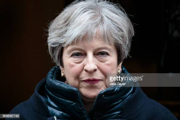 British Prime Minister Theresa May leaves 10 Downing Street for Prime Minister's Questions on January 24 2018 in London England Mrs May will travel...