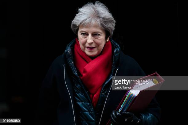 British Prime Minister Theresa May leaves 10 Downing Street for Prime Minister's Questions on February 21 2018 in London England More than 60...