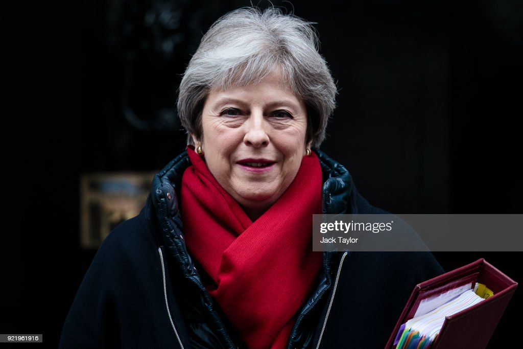 British Prime Minister Theresa May leaves 10 Downing Street for Prime Minister's Questions on February 21, 2018 in London, England. More than 60 pro-Brexit MPs have written to Mrs May with a list of suggestions for making a clean break from Europe as Brexit negotiations continue.