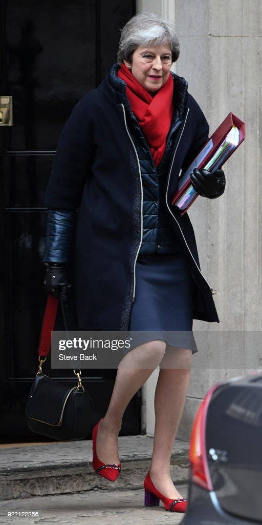 British Prime Minister Theresa May Departs 10 Downing Street : News Photo
