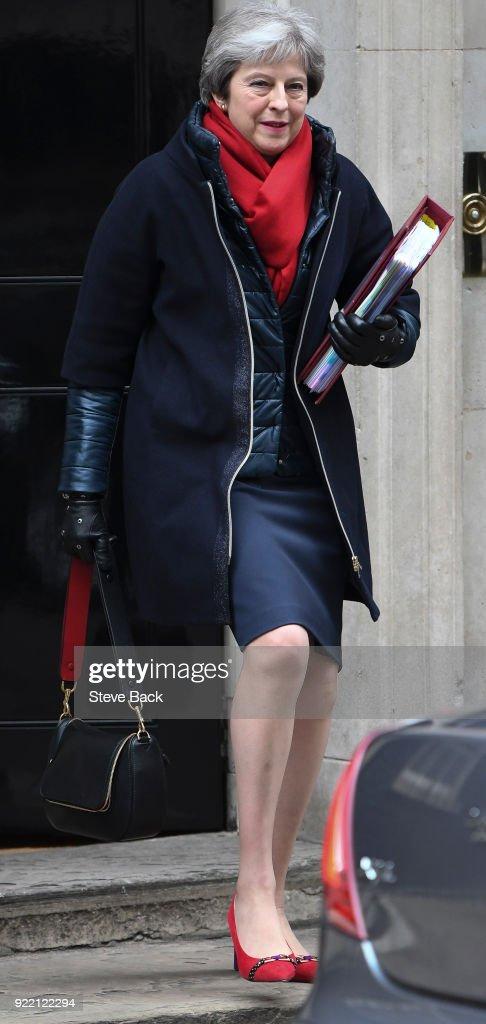British Prime Minister Theresa May Departs 10 Downing Street : News Photo