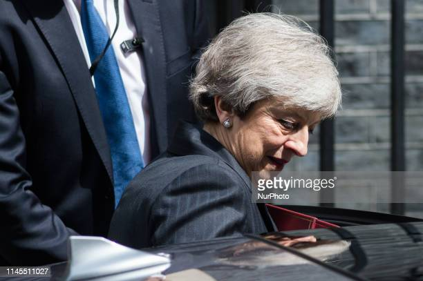 British Prime Minister Theresa May leaves 10 Downing Street for the weekly PMQ session in the House of Commons on 22 May 2019 in London England