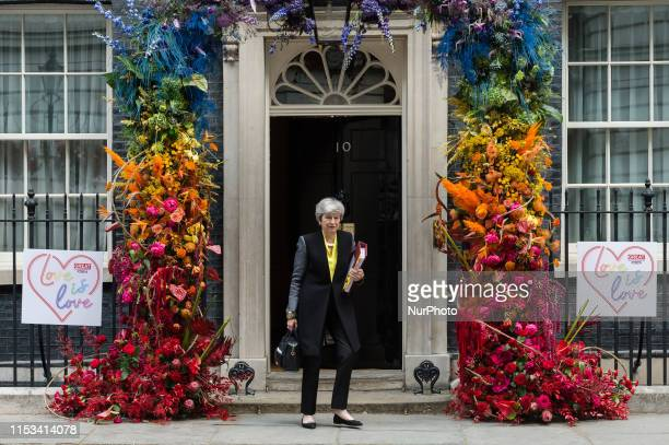 British Prime Minister Theresa May leaves 10 Downing Street for the weekly PMQ session in the House of Commons on 03 July 2019 in London England