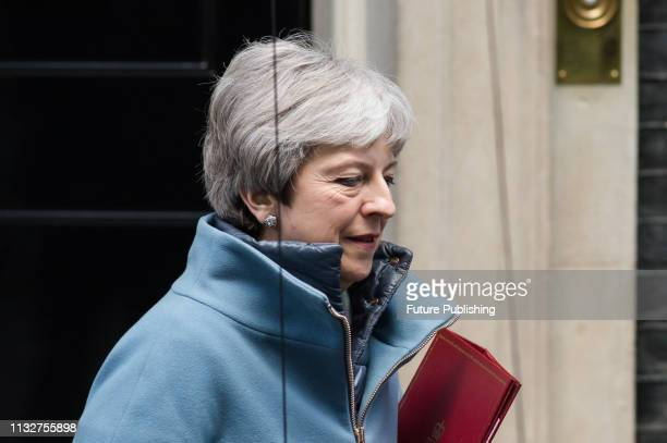 British Prime Minister Theresa May leaves 10 Downing Street in central London for the House of Commons to deliver a statement on Brexit following...