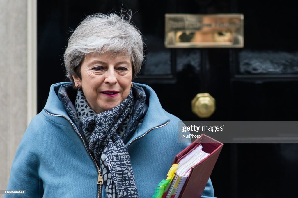 Theresa May Leaves For PMQs Amid Calls For Her Resignation : News Photo
