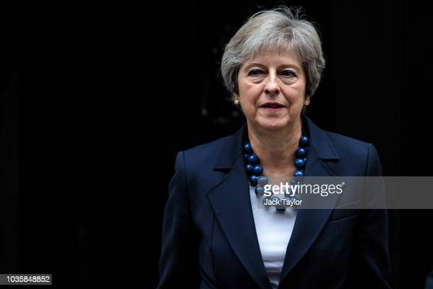 British Prime Minister Theresa May leaves 10 Downing Street on September 19 2018 in London England Mrs May is to attend a key EU summit in Salzburg...