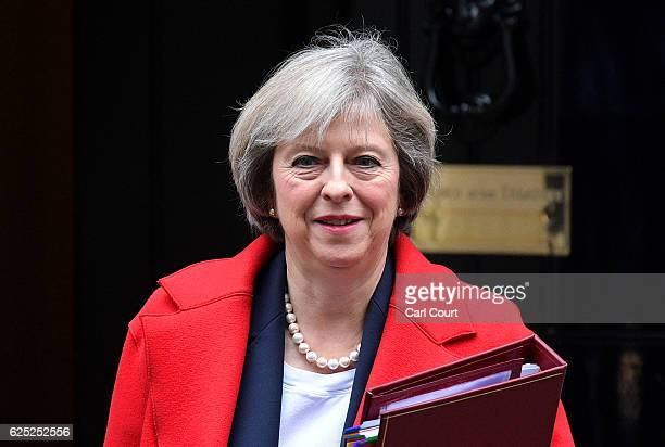 British Prime Minister Theresa May leaves 10 Downing Street on November 23 2016 in London EnglandThe Autumn Statement is one of two budget statements...