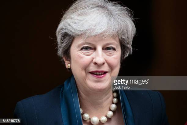British Prime Minister Theresa May leaves 10 Downing Street on September 6 2017 in London England Mrs May will hold the first Prime Ministers...