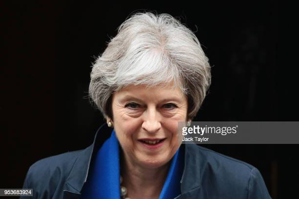 British Prime Minister Theresa May leaves 10 Downing Street to attend Prime Minister's Questions at the Houses of Parliament on May 2 2018 in London...