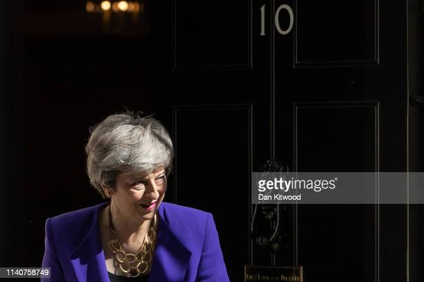 British Prime Minister Theresa May leaves 10 Downing Street to greet Icelandic Prime Minister Katrin Jakobsdottir on May 2, 2019 in London, England.