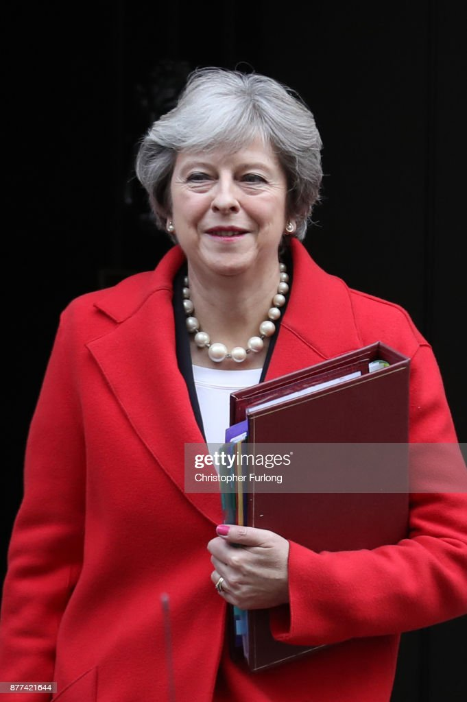 British Prime Minister Theresa May leaves after a cabinet meeting ahead of the Chancellor's annual budget at 10 Downing Street on November 22, 2017 in London, England. Later today Chancellor of the Exchequer Philip Hammond will deliver his 2017 budget to Parliament. The conservative government is continuing with its aim of reducing the deficit and balancing the books as the UK negotiates its departure from the European Union