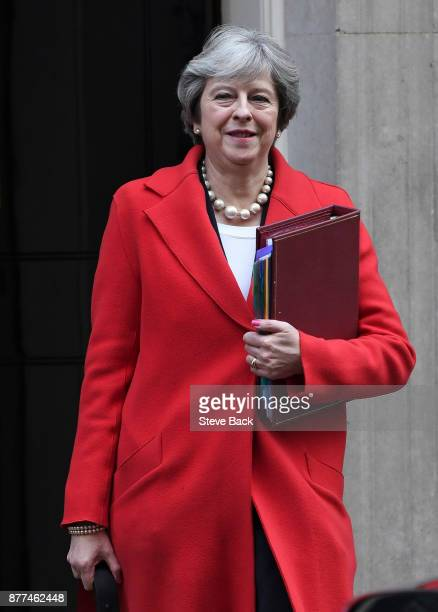 British Prime Minister Theresa May leaves after a cabinet meeting ahead of the Chancellor's annual budget at 10 Downing Street on November 22 2017 in...