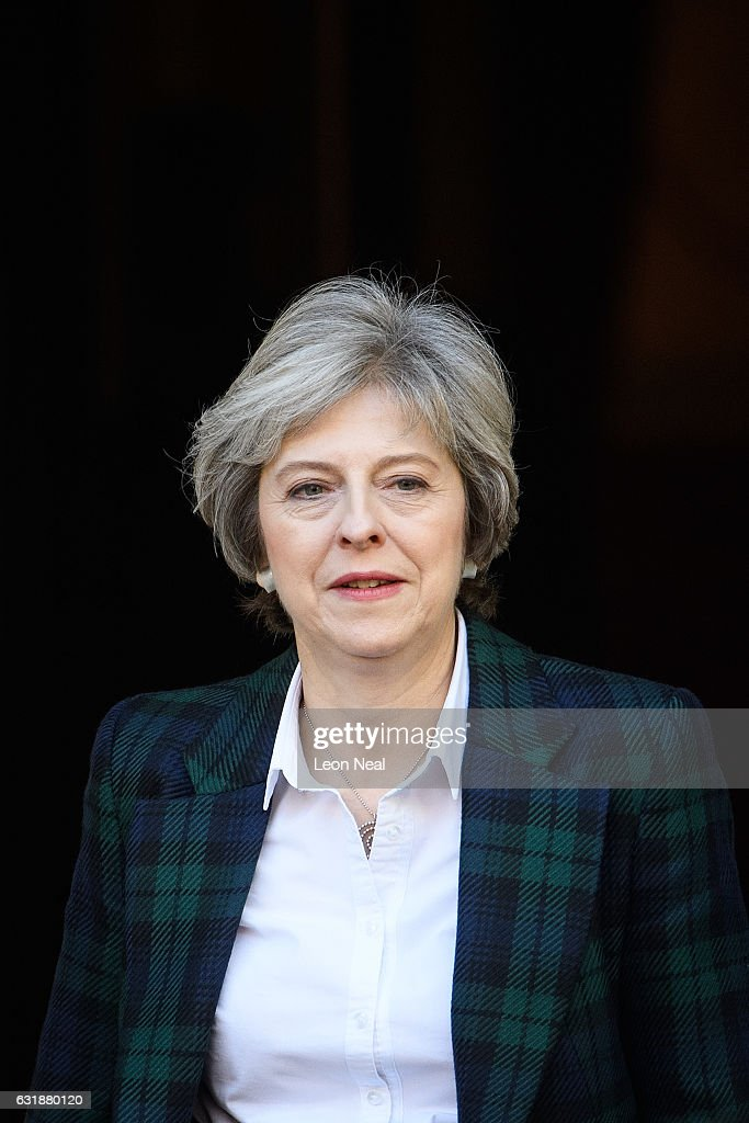 British Prime Minister Theresa May leaves after delivering her keynote speech on Brexit at Lancaster House on January 17, 2017 in London, England. In the speech, she announced that the UK is to leave the single market.