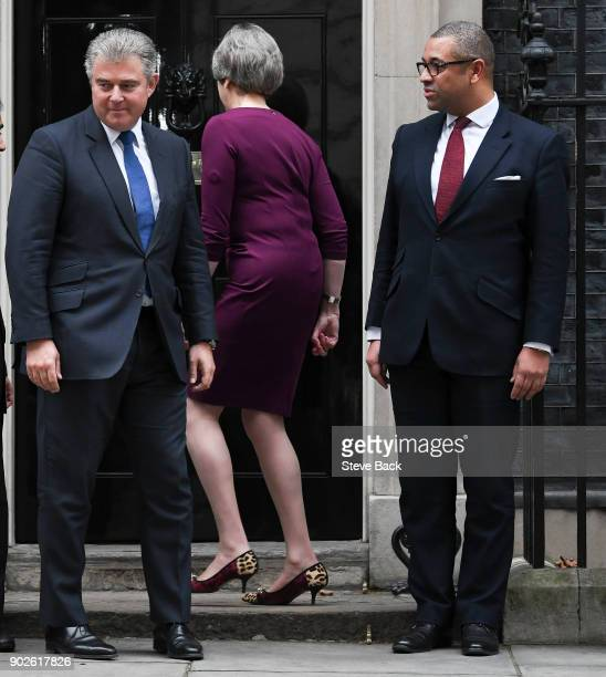 British Prime Minister Theresa May leaves after posing outside 10 Downing street with newly appointed chairman of the Conservative Party Brandon...