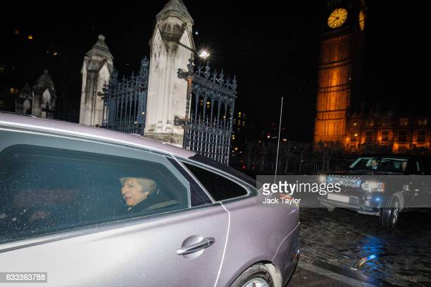 British Prime Minister Theresa May leaves by car following the vote on European Union Bill on the at the Houses of Parliament on February 01 2017 in...