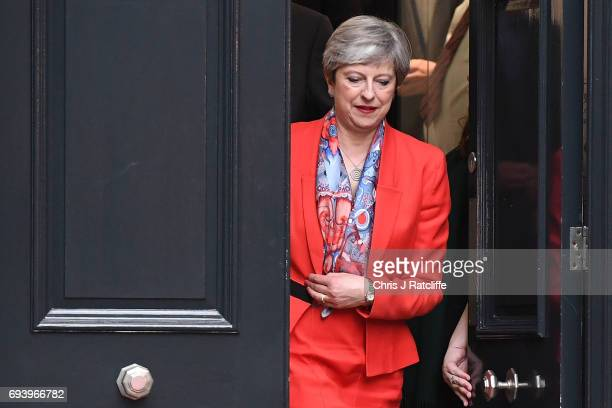 British Prime Minister Theresa May leaves Conservative Party Headquaters on June 9 2017 in London England After a snap election was called the United...