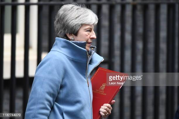 British Prime Minister Theresa May leaves Downing Street following a cabinet meeting on March 25 2019 in London England British Prime Minister...