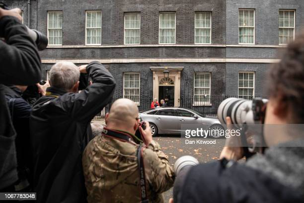 British Prime Minister Theresa May leaves Downing Street on November 15 2018 in London England Cabinet Ministers Dominic Raab the Brexit Secretary...