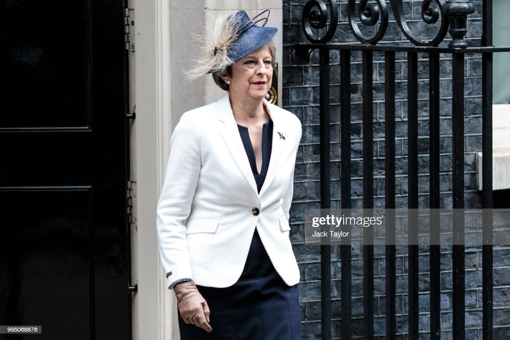 British Prime Minister Theresa May leaves following a cabinet meeting at 10 Downing Street, on July 10, 2018 in London, England. Ministers are meeting for a cabinet meeting after the Prime Minister was forced to carry out a reshuffle following the high profile resignations of Boris Johnson and David Davis over her controversial Brexit strategy.