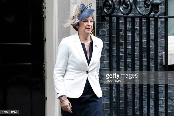 British Prime Minister Theresa May leaves following a cabinet meeting at 10 Downing Street on July 10 2018 in London England Ministers are meeting...