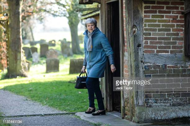 British Prime Minister Theresa May leaves following a church service on March 24 2019 in Aylesbury England Mrs May is reportedly facing pressure from...